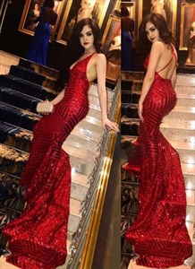 Red Mermaid Deep V-Neck Backless Prom Dresses With Criss-Cross Straps
