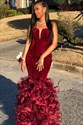 Burgundy Strapless Mermaid Velvet Prom Dress With Ruffle Bottom