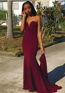 Burgundy Strapless Sweetheart Mermaid Floor Length Prom Formal Dresses