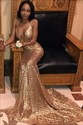 Gold V-Neck Mermaid Floor Length Prom Dresses With Criss-Cross Straps