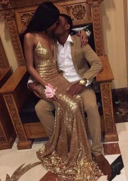 Gold V-Neck Mermaid Floor Length Prom Dresses With Criss-Cross Straps