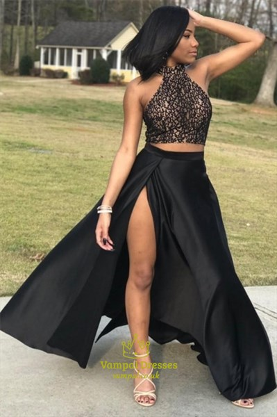 Black Halter Lace Bodice Two Piece Satin Prom Dresses With Split Front