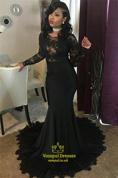 Black Mermaid Long Sleeve Fitted Prom Dresses With Sheer Lace Bodice