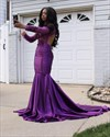 Violet Purple Mermaid Long Sleeve Prom Dresses With Sheer Lace Bodice