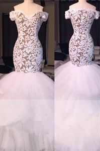 White Mermaid Off The Shoulder Tulle Prom Dresses With Lace Bodice