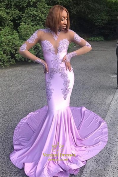 Lavender Mermaid Lace Applique Long Prom Dresses With Sheer Sleeves