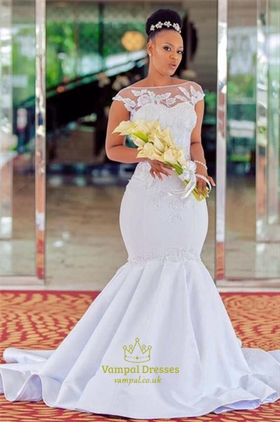 Mermaid Lace Applique Embellished Cap Sleeves Satin Wedding Dress