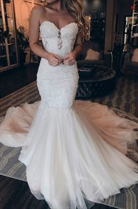 Ivory Mermaid Lace Applique Embellished Keyhole Front Wedding Dresses