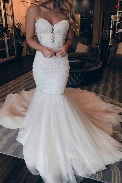 Ivory Mermaid Lace Applique Embellished Keyhole Front Wedding Dresses