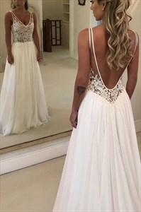 Sheer Lace Applique Bodice V-Neck Sleeveless Chiffon Wedding Dresses