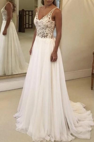 Sheer Lace Applique Bodice V-Neck Sleeveless Chiffon Wedding Dresses