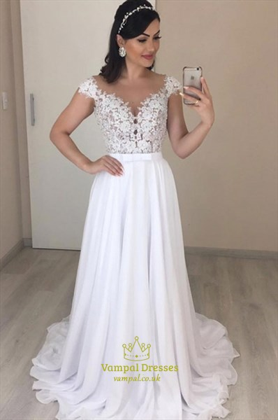 Sheer Lace Applique Bodice Cap Sleeves Chiffon Wedding Dress With Bow