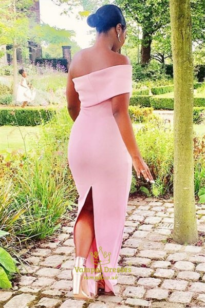 Charming Pink Off The Shoulder Strapless Floor Length Bridesmaid Dress