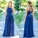 Royal Blue Halter Chiffon Pleated Bodice Floor Length Bridesmaid Dress