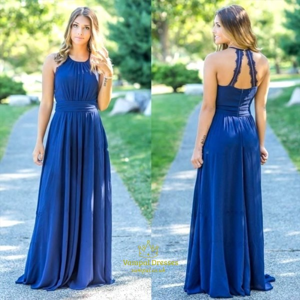 Royal Blue Halter Chiffon Pleated Bodice Floor Length Bridesmaid Dress