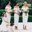 Ivory Off The Shoulder Tea Length Bridesmaid Dress With Split