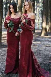 Burgundy Chiffon Off The Shoulder Lace Applique Long Bridesmaid Dress