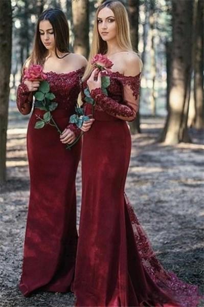 Burgundy Chiffon Off The Shoulder Lace Applique Long Bridesmaid Dress