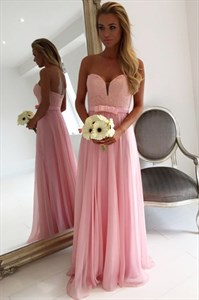 Pink Chiffon Lace Applique Bodice Sweetheart Bridesmaid Dress With Bow