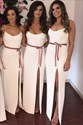 Ivory Spaghetti Straps Split Front Satin Bridesmaid Dresses With Sash