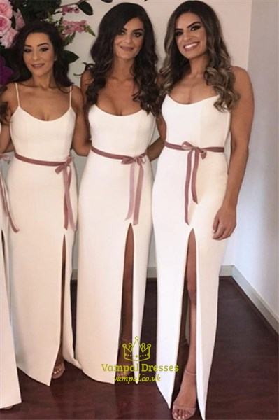 Ivory Spaghetti Straps Split Front Satin Bridesmaid Dresses With Sash