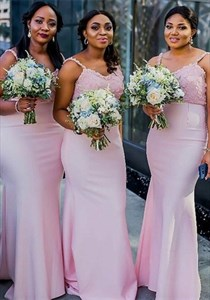 Pink Mermaid Lace Applique Bodice Spaghetti Straps Bridesmaid Dresses