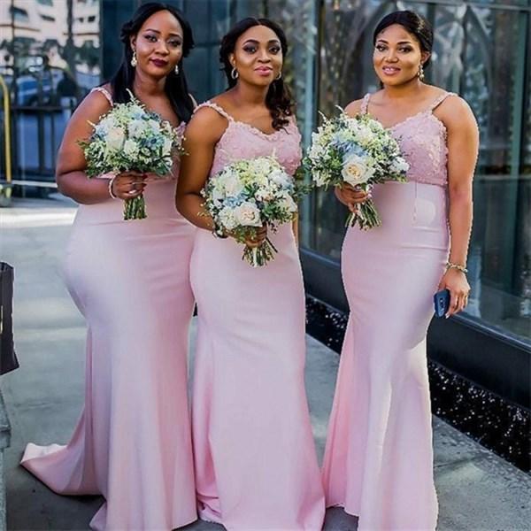 Pink Mermaid Lace Applique Bodice Spaghetti Straps Bridesmaid Dresses