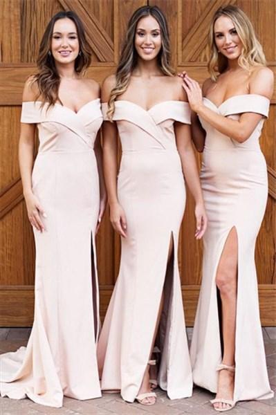 Pale Pink Off The Shoulder Split Front Long Satin Bridesmaid Dress