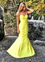 Yellow Sweetheart Mermaid Satin Backless Prom Dress With Ruffled Back