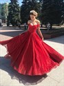 Red Sequin Overlay Off The Shoulder Floor Length Prom Evening Dresses