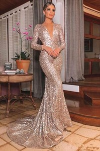 Gold Sequin Mermaid Long Sleeves V-Neck Backless Prom Evening Dresses