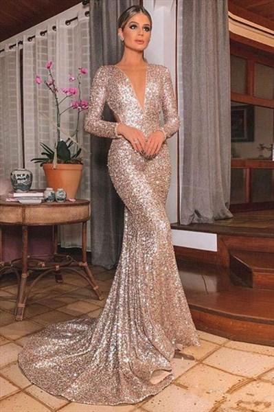 Gold Sequin Mermaid Long Sleeves V-Neck Backless Prom Evening Dresses