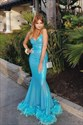 Blue Sequin Mermaid Spaghetti Straps Evening Dresses With Feathers