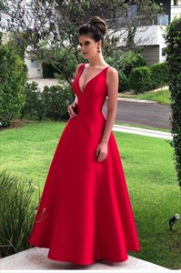 Red Deep V-Neck Sleeveless Long Satin Backless Prom Party Dresses