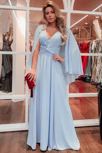 Sky Blue Chiffon Pleated Bodice V-Neck Floor Length Prom Party Dresses