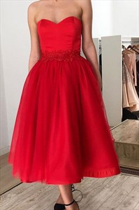 Red Strapless Sweetheart Lace Applique Tulle Tea Length Prom Dresses