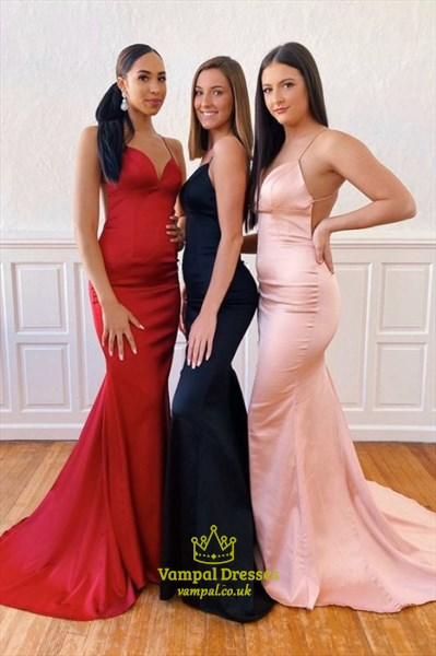 Mermaid V-Neck Spaghetti Straps Open Back Prom Evening Dresses