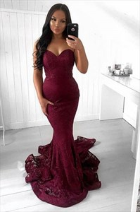 Burgundy Mermaid Strapless Sweetheart Lace Overlay Prom Evening Dress