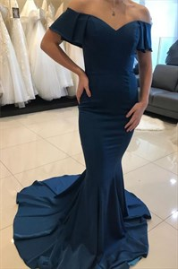 Navy Blue Off The Shoulder Long Chiffon Mermaid Prom Evening Dress