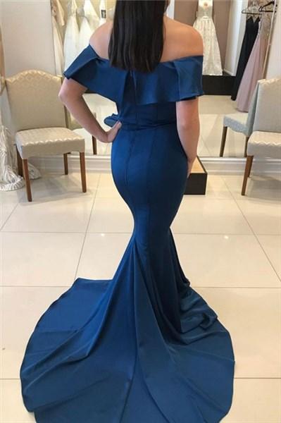 Navy Blue Off The Shoulder Long Chiffon Mermaid Prom Evening Dress