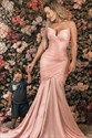Pink Mermaid Strapless Sweetheart Pleated Bodice Prom Evening Dress