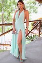 Jade Chiffon V-Neck Halter Pleated Bodice Split Front Long Prom Dress
