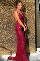 Burgundy Sequin V-Neck Spaghetti Straps Backless Prom Evening Dress