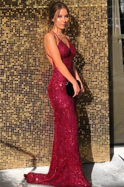Burgundy Sequin V-Neck Spaghetti Straps Backless Prom Evening Dress