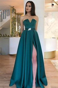 Teal A-Line Strapless Floor Length Satin Split Front Prom Evening Dress