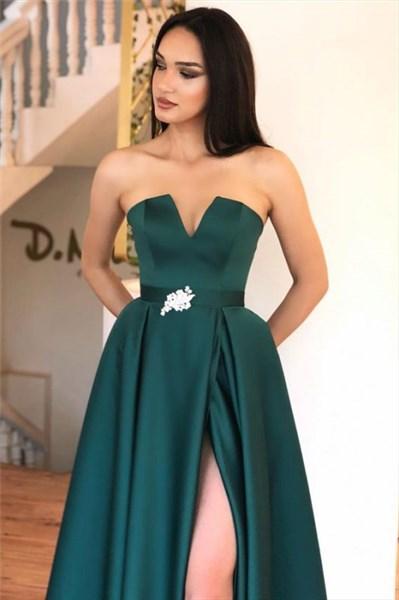Teal A-Line Strapless Floor Length Satin Split Front Prom Evening Dress