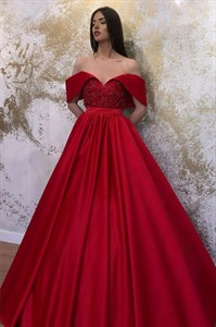 Red Off The Shoulder Lace Applique Embellished Satin Evening Dresses