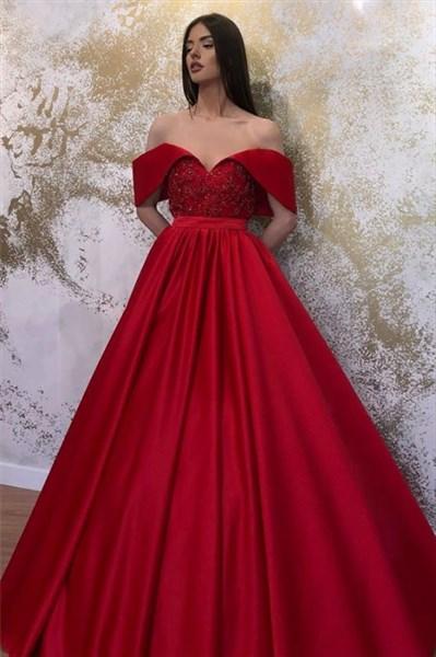 Red Off The Shoulder Lace Applique Embellished Satin Evening Dresses