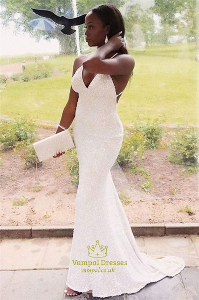Ivory Sequin V-Neck Mermaid Prom Evening Dress With Criss-Cross Straps