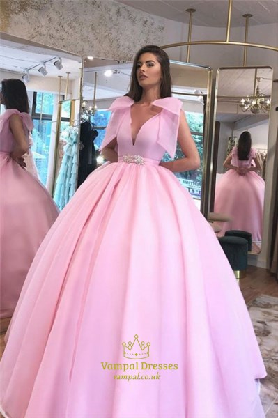 Pink Ball Gown Organza V-Neck Puffy Prom Evening Dress With Bowknot